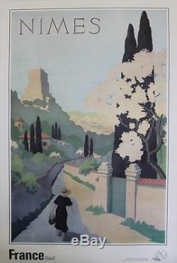 NIMES 1934 Affiche originale entoilée A. PETIT 63x93cm