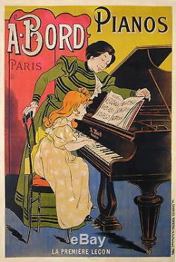 Oge Affiche Ancienne Pianos Bord CI 1900