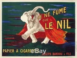 Original Vintage Poster Cappiello L. Je ne fume que le Nil Elephant 1912