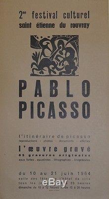 PABLO PICASSO / EXPO SAINT ETIENNE DU ROUVRAY 1964 Affiche originale entoilée