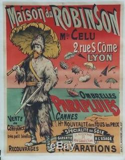 PARAPLUIES MAISON du ROBINSON Affiche originale entoilée Litho 1887 114x144cm