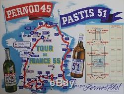 PERNOD 45 / PASTIS 51 (TOUR de FRANCE 55) Affiche originale entoilée 66x52cm