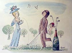 PERRIER-JOUËT Affiche originale entoilée PEYNET 1969 60x80cm