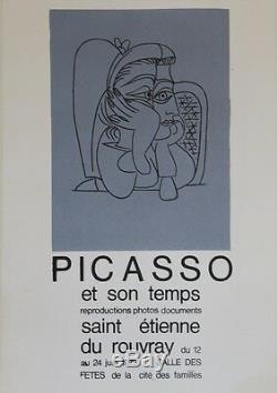 PICASSO ET SON TEMPS (ST ETIENNE DU ROUVRAY 1973) Affiche originale entoilée
