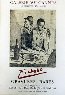 PICASSO (EXPO GALERIE 65 CANNES 1966) Affiche litho originale entoilée
