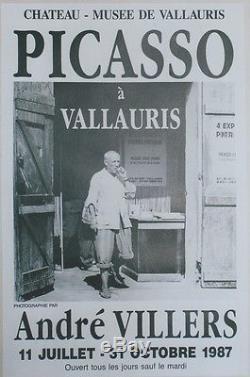 PICASSO à VALLAURIS (EXPO 1987)Affiche originale entoilée Photo André VILLERS