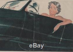 PIN-UP en AUTOMOBILE Affiche originale entoilée CAROLS (BRENOT) 1950 50x34cm
