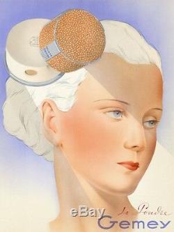 POUDRE GEMEY Tirage original entoilé pour annonceur André WILQUIN 1938