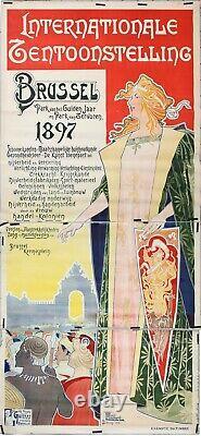 PRIVAT LIVEMONT BRUXELLES BRUSSEL 1897 INTERNATIONALE TENTOONSTELLING 277x130cm