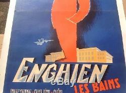 P. Delpire Affiche originale entoilee Enghein les Bains circa 1940-50