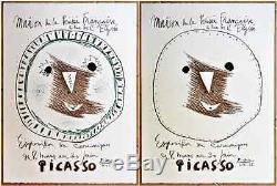 Pablo PICASSO EXPOSITION DE CERAMIQUES (1958) 2 Lithographies Originales