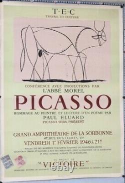 Pablo Picasso affiche 1946 Sorbonne conférence hommage taureau 74 x 52,5 cm B+