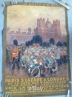 Paris St Lazare Londres Dieppe Newhaven paquebots turbine affiche ancienne