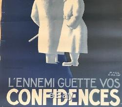 Paul Colin Affiche Ancienne Litho Silence Propagande 39/45 Vintage Poster