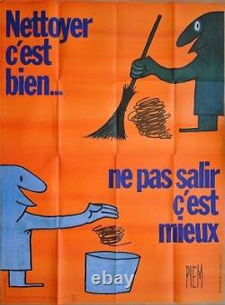 Piem (1977) PROPRETE DE PARIS Affiche Originale 120 x 160 cm