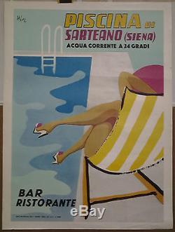 Piscina di Sarteano Bar Ristorante Italie Siena AFFICHE ORIGINALE ANCIENNE /R4a