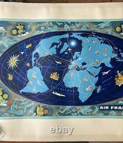 Planisphère Air France Zodiaque Bleu 1962 Lucien Boucher
