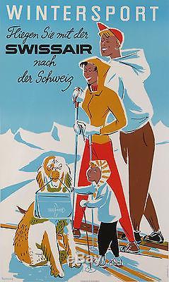 Pletscher Affiche Ancienne Swissair Wintersport Ski Suisse Sport D'hiver 1950