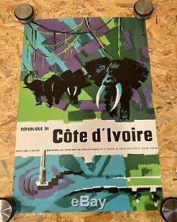 Poster Original République de Côté d'Ivoire Signée Dessirier 1970 Retro
