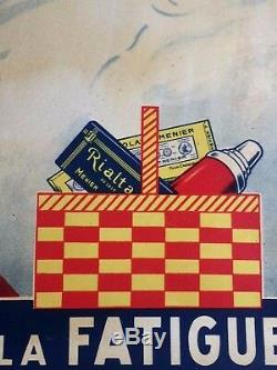 Publicité Lithographie sur zinc Chocolat MENIER au ski E. Roumy EDIA Paris1930