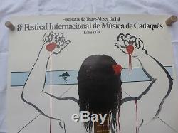 RARE 1979 magnifique Affiche signé DALI FESTIVAL MUSIQUE GUITARE CADAQUES
