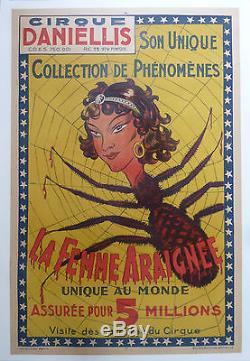 RARE AFFICHE ANCIENNE LITHOGRAPHIE CIRQUE DANIELLIS FEMME ARAIGNEE 1915