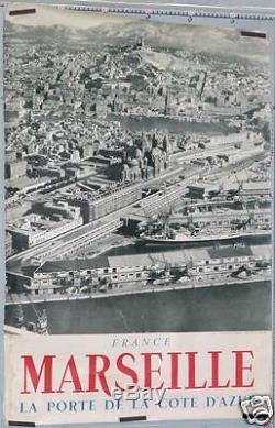 RARE AFFICHE ANCIENNE PORT DE MARSEILLE VUE GÉNÉRALE circa 1930-50