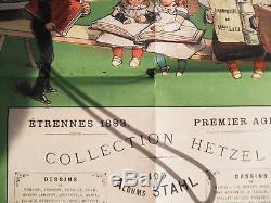 Rare Affiche Couleurs 1883 Etrennes Hetzel Stahl Amand Amsterdam Details