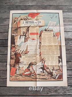 Rare Affiche Couleurs 1884 Etrennes Hetzel Stahl Jules Verne Becker Details