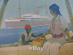 RARE Affiche Originale Cie Maritime TOUACHE liaison Marseille Afrique du Nord