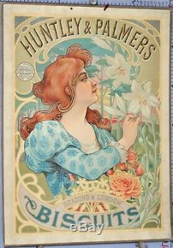 RARE CARTON PUBLICITAIRE HUNTLEY PALMERS BISCUITS circa 1890-1900