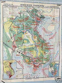 RARE GRANDE AFFICHE ANCIENNE CARTE ECONOMIQUE INDOCHINE FRANCAISE circa 1930-40