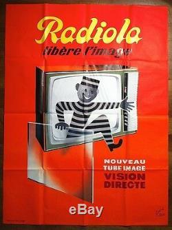 RAVO (René) Radiola libère l'image, AFFICHE PUBLICITAIRE, 1960