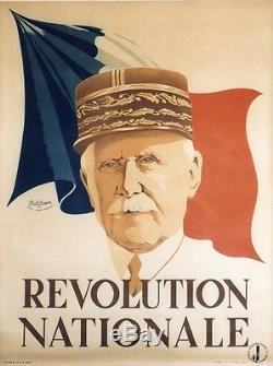REVOLUTION NATIONALE Affiche originale entoilée Litho Philippe Henri NOYER