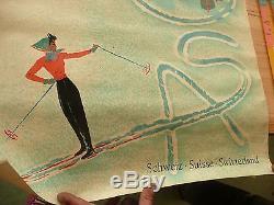 Rare 1956 affiche /vintage poster ancien station ski AROSA Suisse Donald BRUN