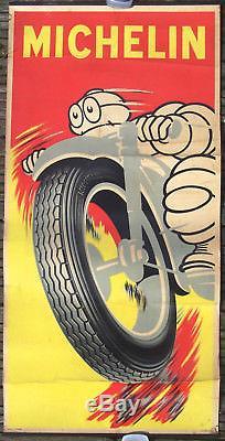 Rare Affiche Ancienne Originale Michelin Bibendum Pneu Moto Circa 1945 1950