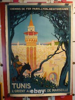 Rare Affiche Broders Roger PLM Tunis 1920 entoilée originale