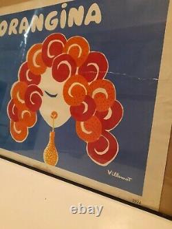 Rare Affiche Orangina 1974 Villemot Deco Publicitaire Bar Soda No Émaillée