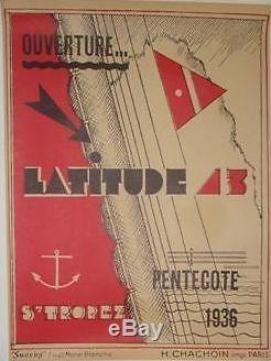 Rare Affiche Originale Entoilée Hôtel Latitude 43 De 1936 Saint-Tropez