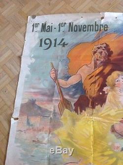Rare Affiche Poster Exposition Internationale De Lyon 1914 World Fair Imp Chaix