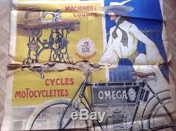 Rare affiche poster velo cycles machine a coudre omega for Machine a coudre omega