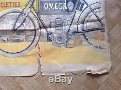 Rare Affiche Poster Velo Cycles Machine A Coudre Omega Sewing Bike Motorbike Old