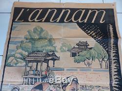 Rare Affiche Tourisme l'Annam VIET NAM Hué illustrée Alix de Fautereau A VOIR