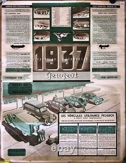 Rare Affiche ancienne Automobile Garage original Peugeot Modèle 1937 Double Face