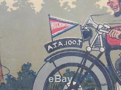 Rare Bandeau Lithographie Pub Affiche Ancienne Hutchinson Velo Raoul Vion