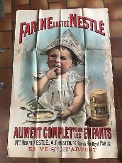 Rare affiche ancienne 1900 Nestle farine lactee bebe