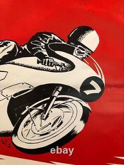 Rare affiche ancienne course moto circuit Bugatti les 1000 km Mans
