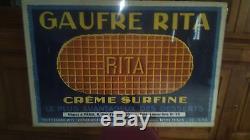 Rare affiche ancienne gaufre rita
