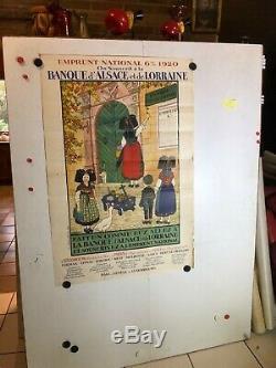 Rare affiche ancienne par Hansi banque Alsace Lorainne emprunt 1920