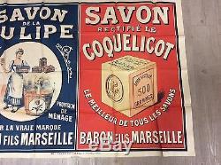 Rare affiche ancienne savon la tulipe et savon coquelicot 1.21m/0.90m